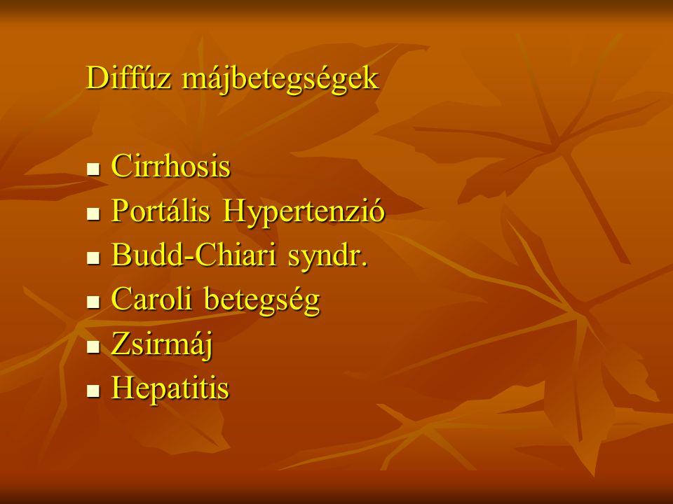 Diffúz májbetegségek Cirrhosis. Portális Hypertenzió. Budd-Chiari syndr. Caroli betegség. Zsirmáj.