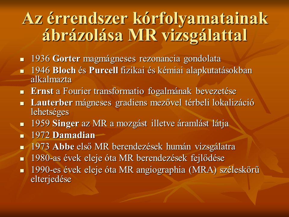 Az érrendszer kórfolyamatainak ábrázolása MR vizsgálattal