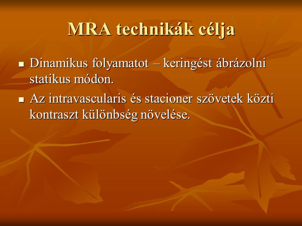 MRA technikák célja Dinamikus folyamatot – keringést ábrázolni statikus módon.