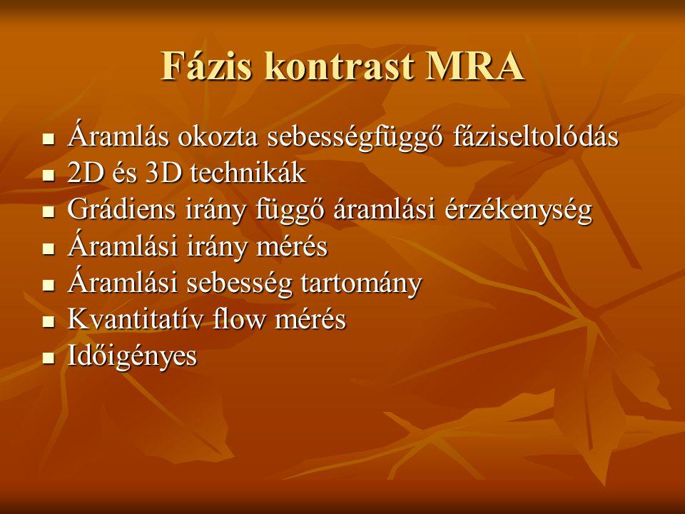 Fázis kontrast MRA Áramlás okozta sebességfüggő fáziseltolódás