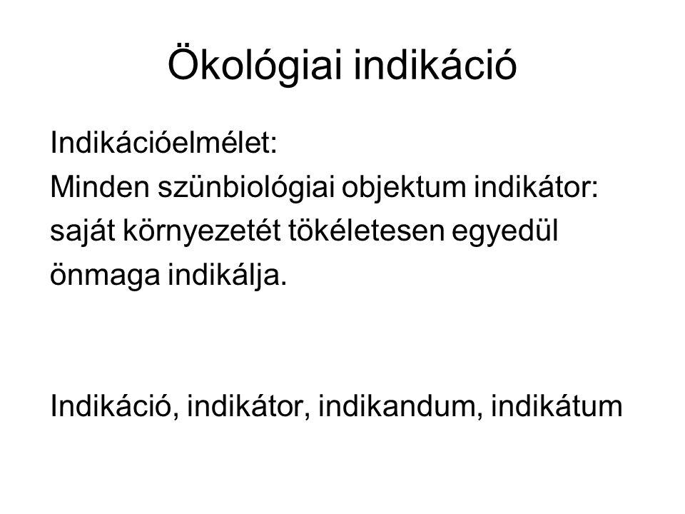 Ökológiai indikáció Indikációelmélet: