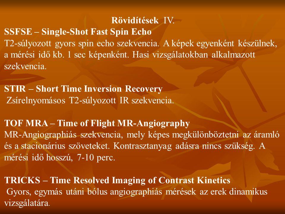 Rövidítések IV. SSFSE – Single-Shot Fast Spin Echo.