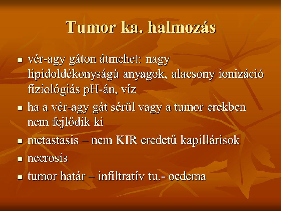 Tumor ka. halmozás vér-agy gáton átmehet: nagy lipidoldékonyságú anyagok, alacsony ionizáció fiziológiás pH-án, víz.
