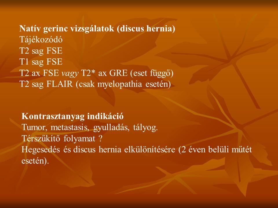 Natív gerinc vizsgálatok (discus hernia)