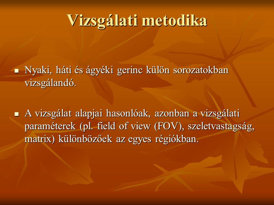 Vizsgálati metodika Nyaki, háti és ágyéki gerinc külön sorozatokban vizsgálandó.