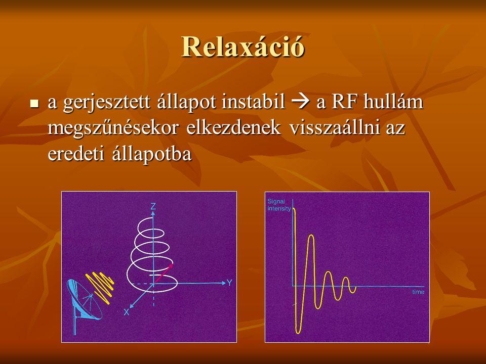 Relaxáció a gerjesztett állapot instabil  a RF hullám megszűnésekor elkezdenek visszaállni az eredeti állapotba.