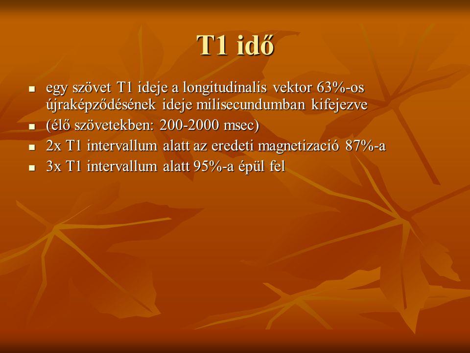 T1 idő egy szövet T1 ideje a longitudinalis vektor 63%-os újraképződésének ideje milisecundumban kifejezve.