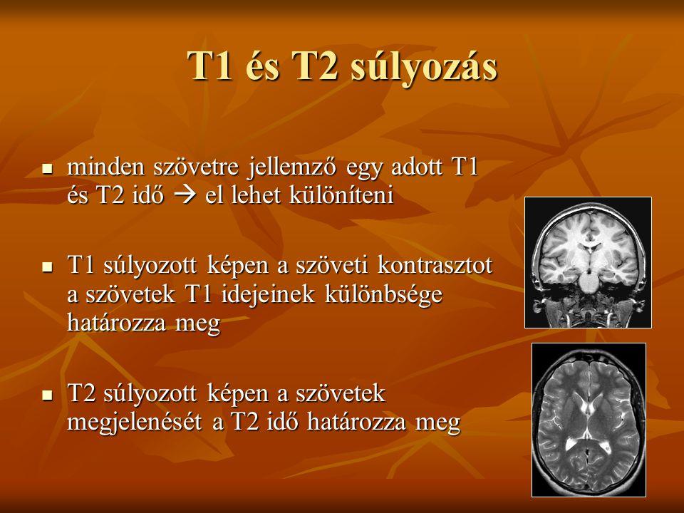 T1 és T2 súlyozás minden szövetre jellemző egy adott T1 és T2 idő  el lehet különíteni.