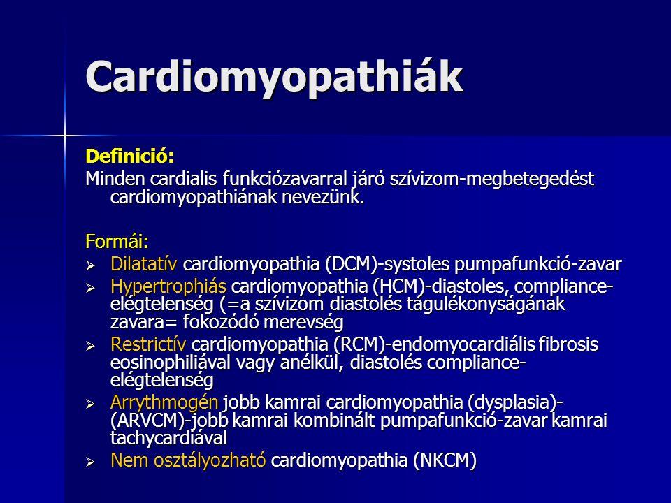 Cardiomyopathiák Definició: