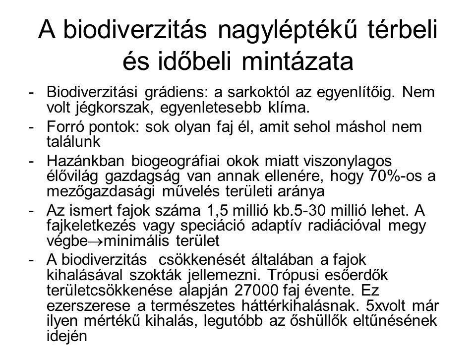 A biodiverzitás nagyléptékű térbeli és időbeli mintázata