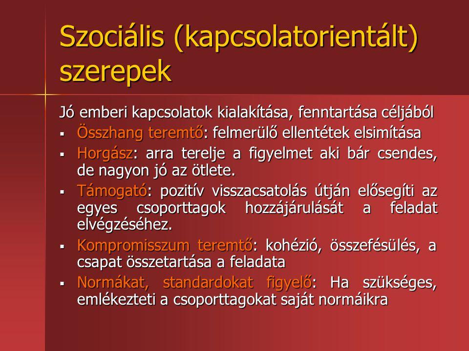Szociális (kapcsolatorientált) szerepek