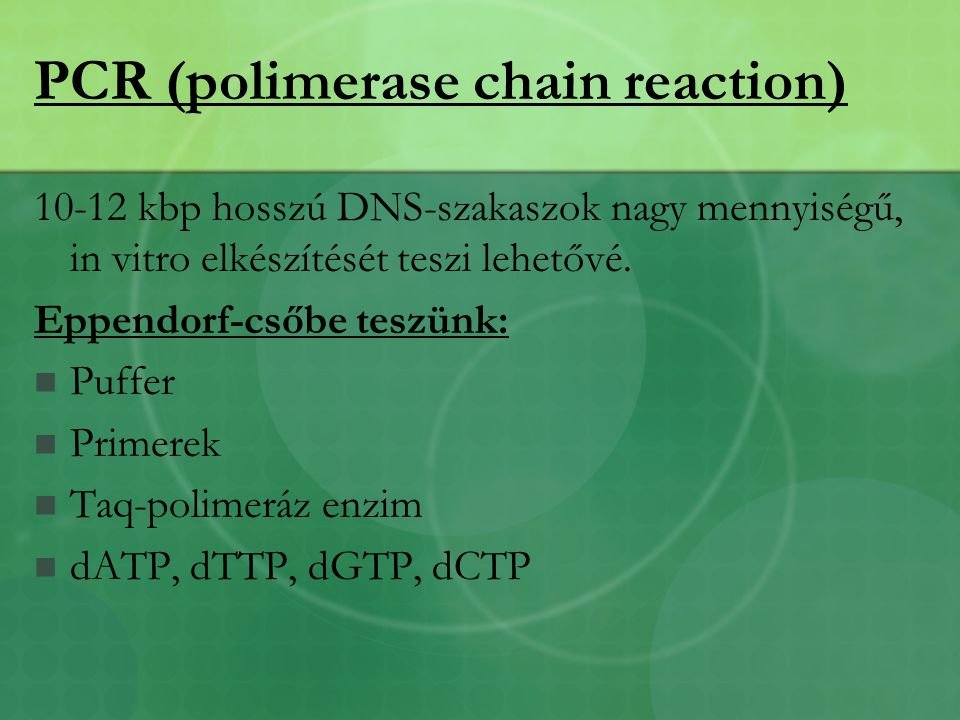 PCR (polimerase chain reaction)
