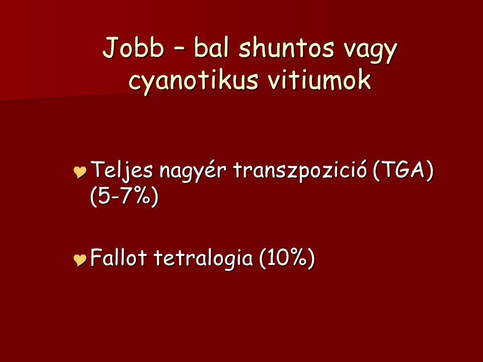 Jobb – bal shuntos vagy cyanotikus vitiumok