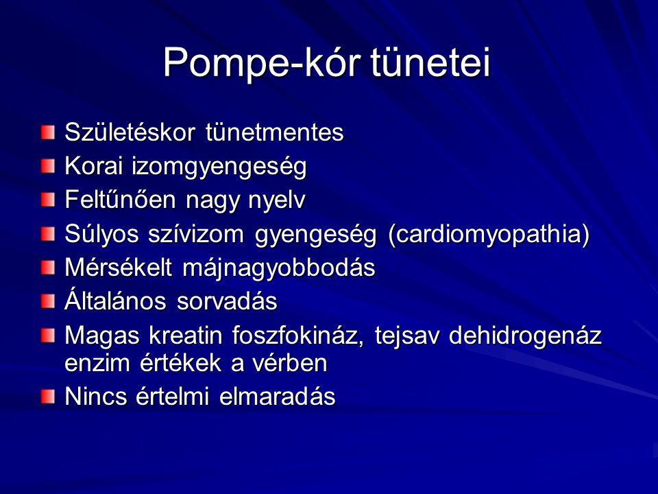 Pompe-kór tünetei Születéskor tünetmentes Korai izomgyengeség