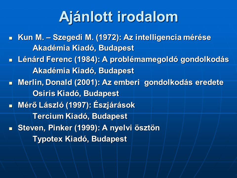 Ajánlott irodalom Kun M. – Szegedi M. (1972): Az intelligencia mérése