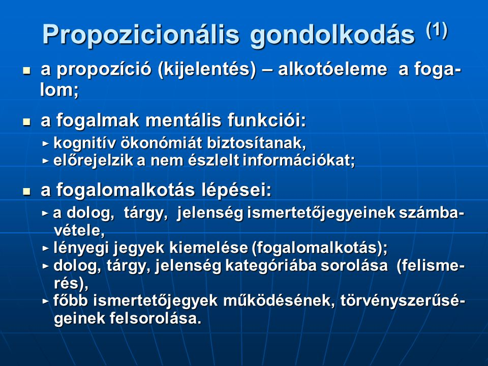 Propozicionális gondolkodás (1)