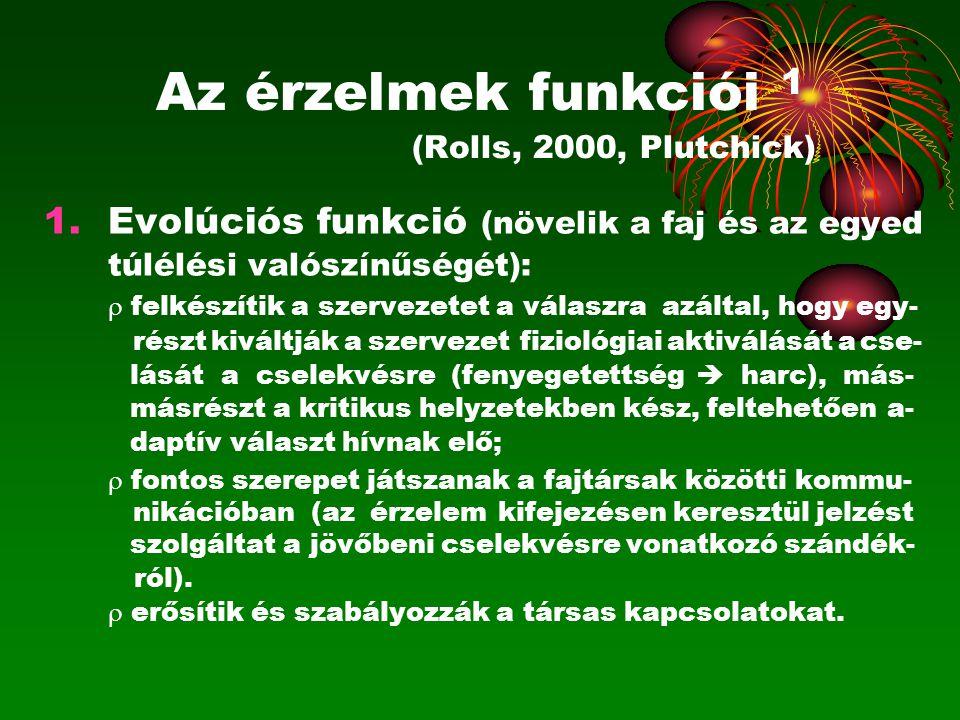 Az érzelmek funkciói 1 (Rolls, 2000, Plutchick)