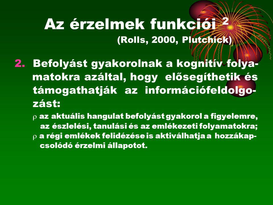 Az érzelmek funkciói 2 (Rolls, 2000, Plutchick)