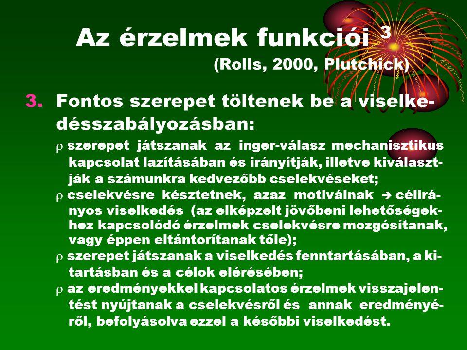 Az érzelmek funkciói 3 (Rolls, 2000, Plutchick)