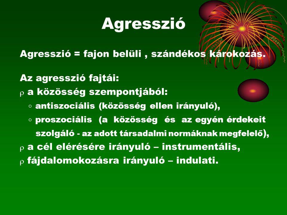 Agresszió Agresszió = fajon belüli , szándékos károkozás.