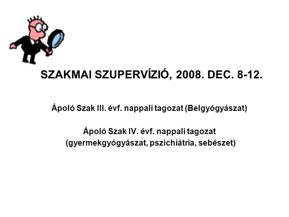 SZAKMAI SZUPERVÍZIÓ, 2008. DEC. 8-12.