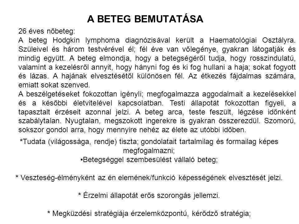 A BETEG BEMUTATÁSA 26 éves nőbeteg: