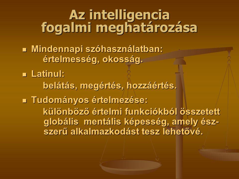 Az intelligencia fogalmi meghatározása