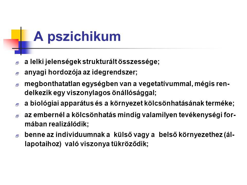 A pszichikum a lelki jelenségek strukturált összessége;