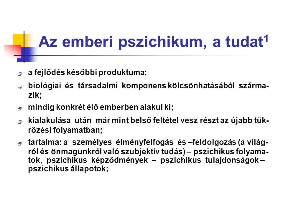 Az emberi pszichikum, a tudat1