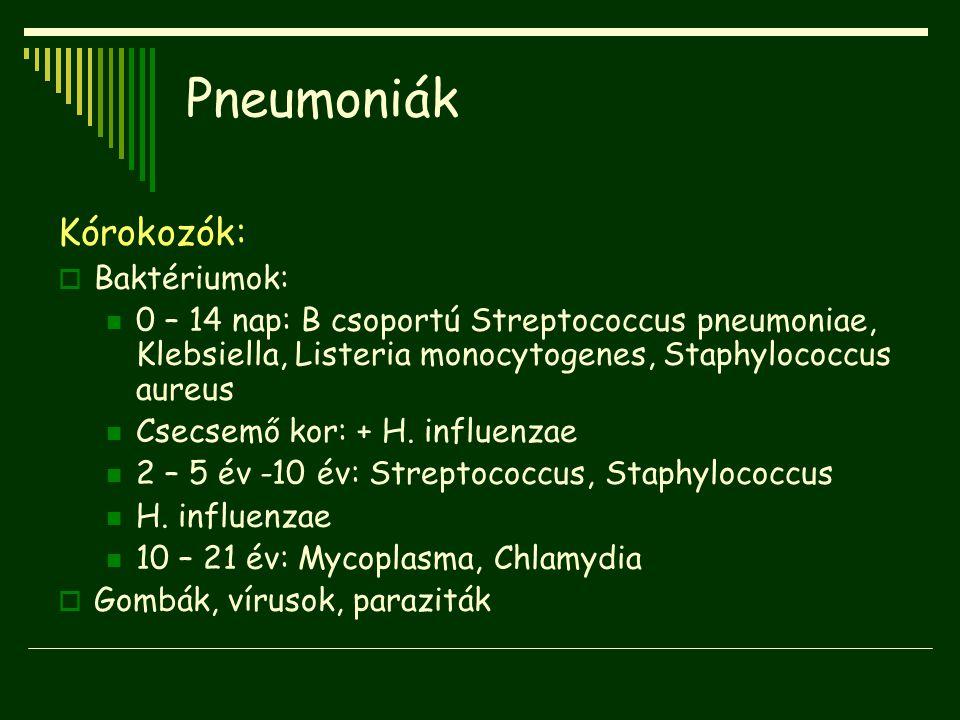 Pneumoniák Kórokozók: Baktériumok: