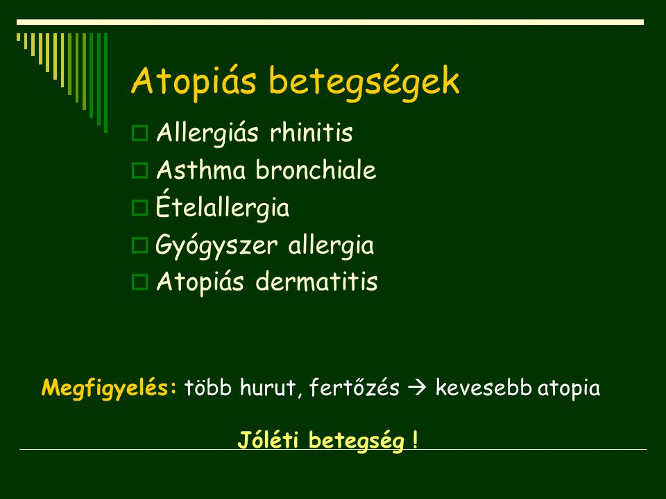 Atopiás betegségek Allergiás rhinitis Asthma bronchiale Ételallergia
