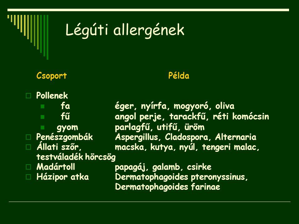 Légúti allergének fa éger, nyírfa, mogyoró, oliva