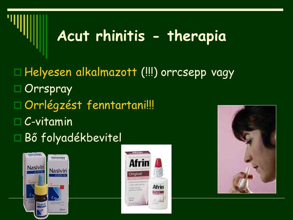 Acut rhinitis - therapia