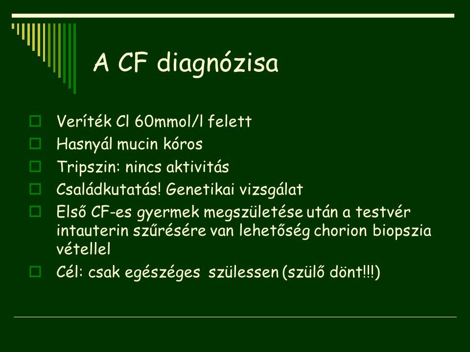 A CF diagnózisa Veríték Cl 60mmol/l felett Hasnyál mucin kóros