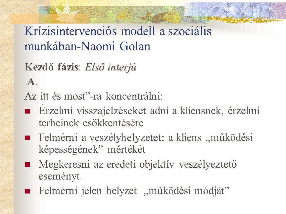 Krízisintervenciós modell a szociális munkában-Naomi Golan