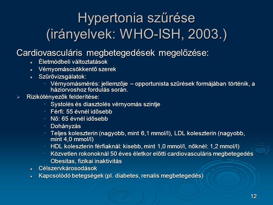 Hypertonia szűrése (irányelvek: WHO-ISH, 2003.)