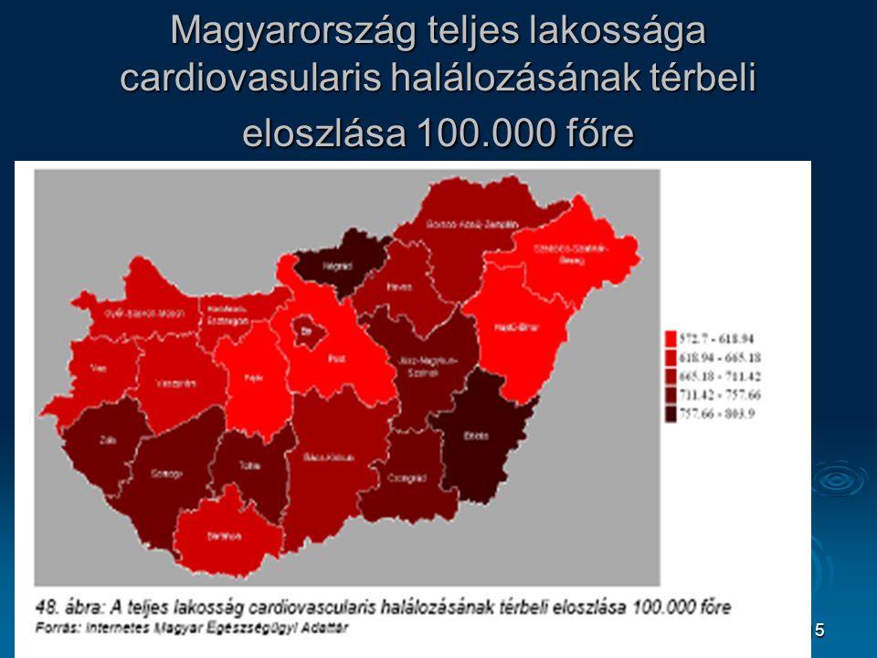 Magyarország teljes lakossága cardiovasularis halálozásának térbeli eloszlása 100.000 főre