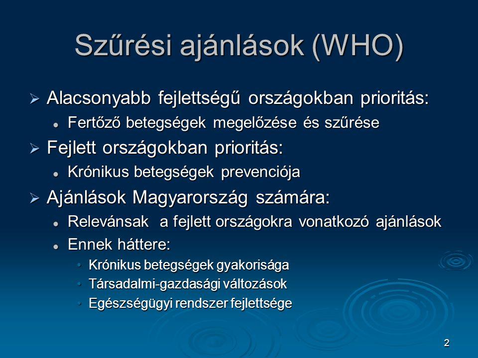 Szűrési ajánlások (WHO)