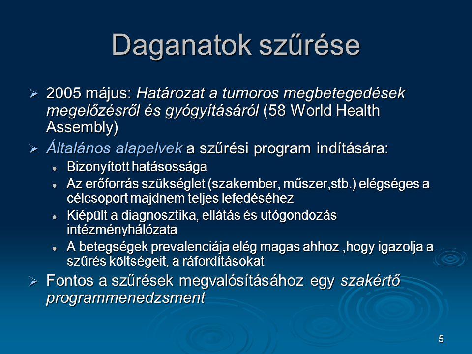Daganatok szűrése 2005 május: Határozat a tumoros megbetegedések megelőzésről és gyógyításáról (58 World Health Assembly)