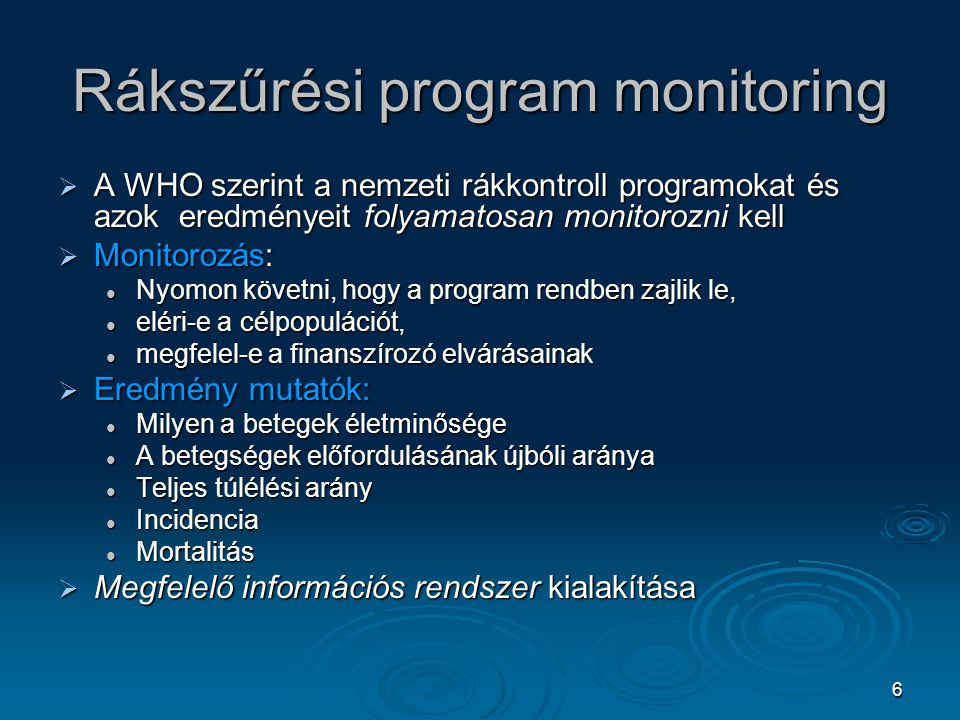 Rákszűrési program monitoring