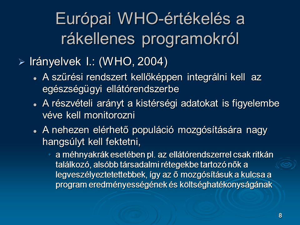 Európai WHO-értékelés a rákellenes programokról