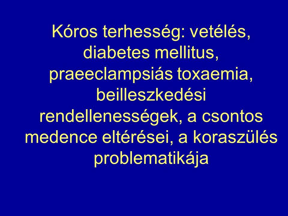 Kóros terhesség: vetélés, diabetes mellitus, praeeclampsiás toxaemia, beilleszkedési rendellenességek, a csontos medence eltérései, a koraszülés problematikája