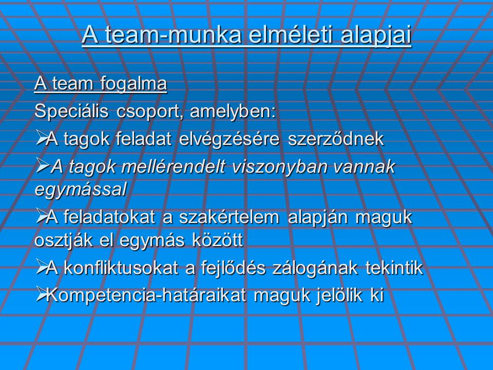 A team-munka elméleti alapjai