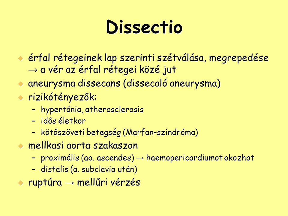Dissectio érfal rétegeinek lap szerinti szétválása, megrepedése → a vér az érfal rétegei közé jut. aneurysma dissecans (dissecaló aneurysma)