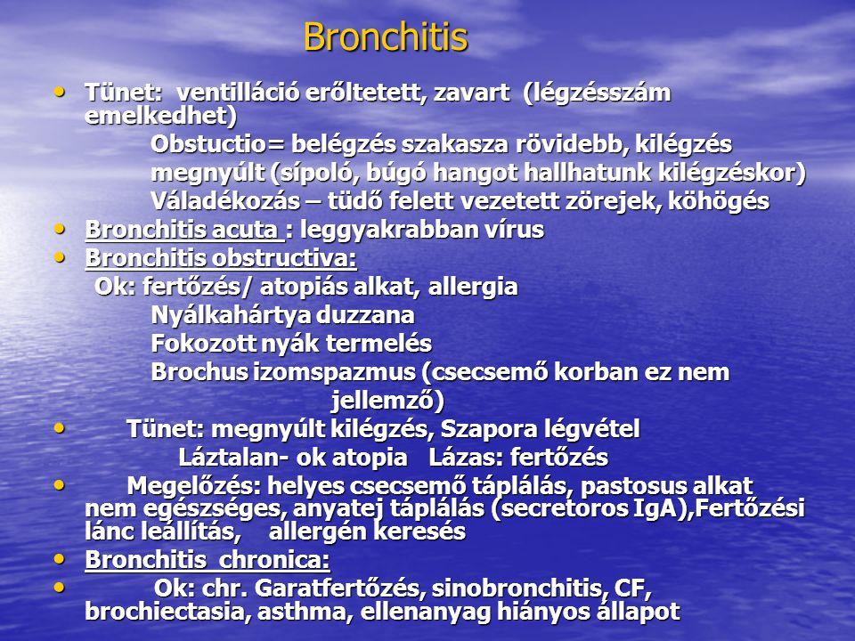 Bronchitis Tünet: ventilláció erőltetett, zavart (légzésszám emelkedhet) Obstuctio= belégzés szakasza rövidebb, kilégzés.