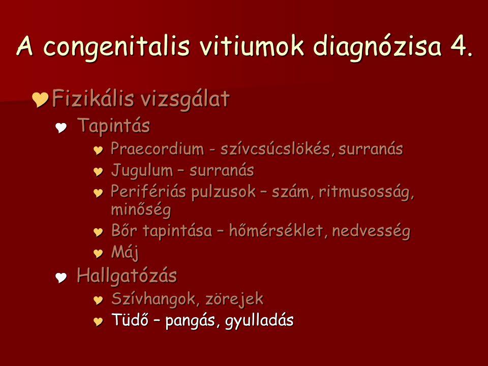 A congenitalis vitiumok diagnózisa 4.