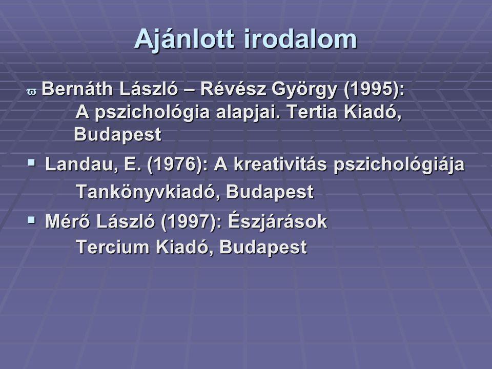 Ajánlott irodalom Budapest