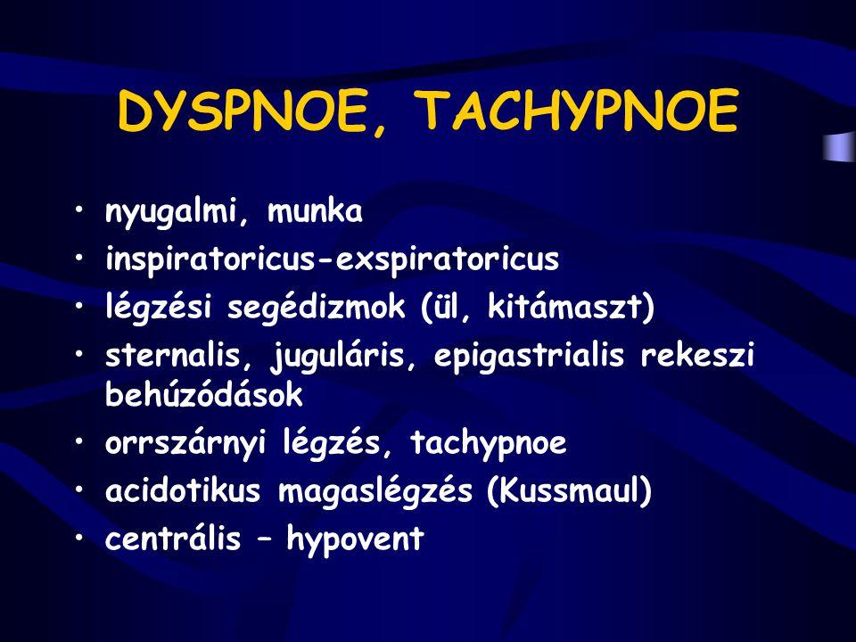 DYSPNOE, TACHYPNOE nyugalmi, munka inspiratoricus-exspiratoricus
