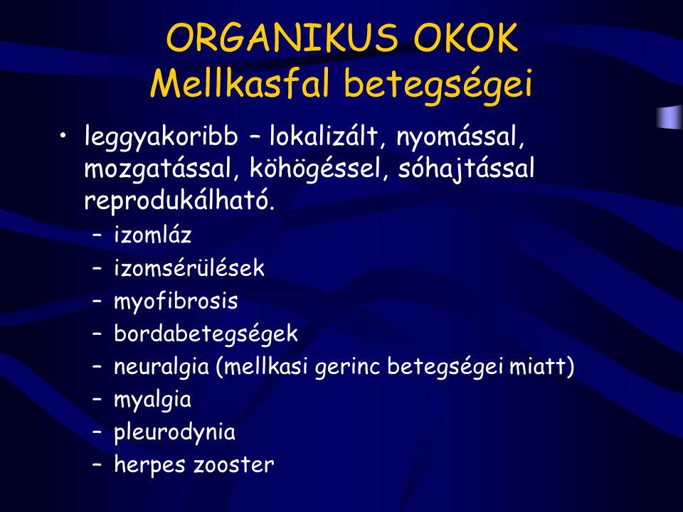 ORGANIKUS OKOK Mellkasfal betegségei