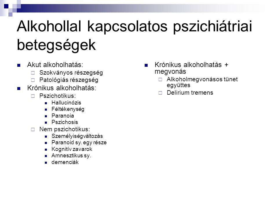 Alkohollal kapcsolatos pszichiátriai betegségek